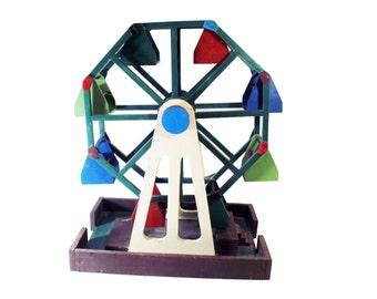 Toy, Ferris Wheel, Folk, Handmade, 1950s, Vintage, Hand Painted, Wood