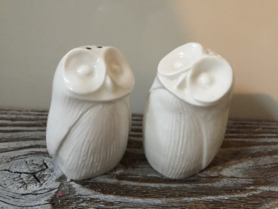 Vintage pair white owl salt pepper shakers bone china made in - Owl salt and pepper grinders ...