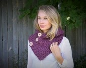 ONE DAY SALE Hand Crocheted Hooded Cowl With Buttons in Purple-Ready to Ship
