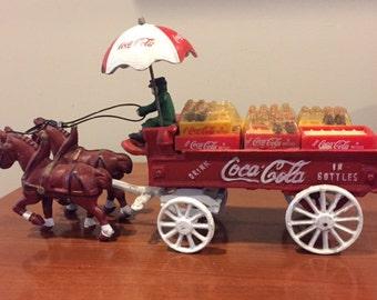 SALE-Vintage Cast Iron Coca Cola Horse Drawn Wagon/crates/bottles/umbrella/driver/two horses