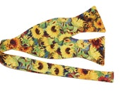 SALE - Men's Yellow Floral Self Tie Cotton Hook & Loop Adjustable Bow Tie