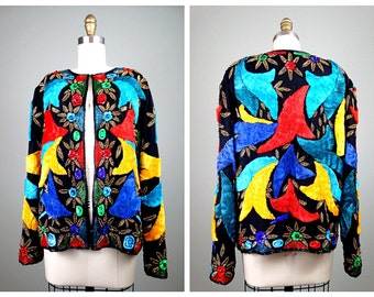 BOLD Embroidered Beaded Sequin Jacket // Bright Ribbon Embellished Silk Blazer // Primary Color Sequined Jacket
