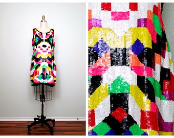 Multicolor Abstract Sequin Dress // Colorful Art Deco Dress // Sequin Trophy Dress XL