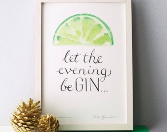 Gin Kitchen art - Funny Gin Print - Gin Art - Kitchen Wall Art - Yellow Kitchen Art - Green Kitchen Art - Gift for Gin Lover - Gin Print