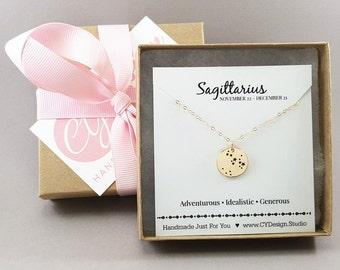 Sagittarius Zodiac Necklace - Constellation Necklace - Gold Fill Necklace - Simple Jewelry - Astrology Necklace - Gold Jewelry  Gift for Her