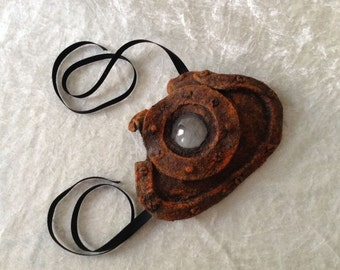 Mask (quarter mask): ' Industrial lens ' (finishing in a rusted metal imitation) - handmade, artistic, traditional mask