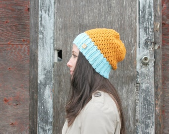 Two Tone Slouchy Hat . Color Block Hat for Women . Made in Canada  { Marigold & Sky Blue  }
