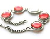 Art Deco Sterling Bracelet, sterling Art Deco bracelet, sterling geometric bracelet, Art Deco red bracelet, 1920s red bracelet