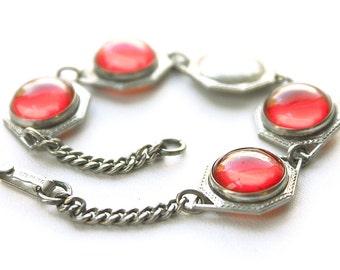 Art Deco Sterling Bracelet, sterling Art Deco bracelet, sterling geometric bracelet, Art Deco red bracelet, 1920s 1930s red bracelet