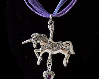 Unicorn Pendant Necklace in Silver and Lilac