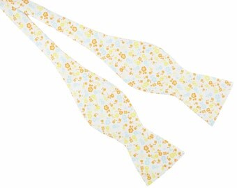 Yellow Floral Bow Tie - Mens Floral Bow Tie - Floral Bow Ties For Men - White Floral Bow Tie - Wedding Bow Tie - Groomsmen Bow Ties