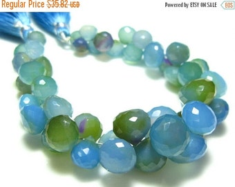 """BIG SALE Blue Shaded Chalcedony Faceted Onion Briolette- 6.5"""" Strand -Stones measure- 7-10mm"""