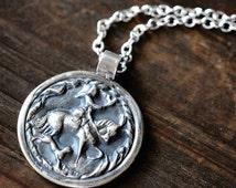 Personalized Silver Horse Necklace | Epona Goddess Pendant | Equestrian Style | Horse Lover Necklace | Celtic Jewelry | Horse and Hound
