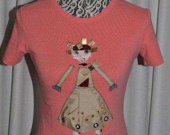 PRADA Stretch Pink T-shirt Applique Girl Baby Doll Short Sleeve