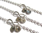 Three Personalized Infinity Bracelets, 3 Best Friends Bracelets, Bridesmaids Bracelets, Infinity Initial Bracelets, Monogram