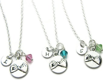 3 Pinky Promise Swarovski Birthstone Initial Best Friends Necklaces, 3 Best Friends,  3 Best Friends Jewelry, Three Best Friend Jewelry