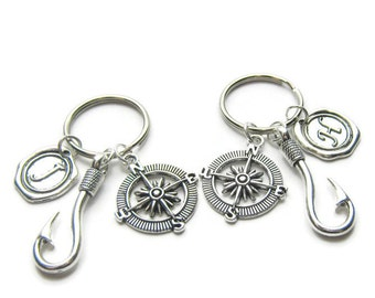 2 Fish Hook Compass Initial Keychains, Best Friends Keychains, Couples Keychains, Sisters Keychains, Friends Keychains, Fishing Keychains
