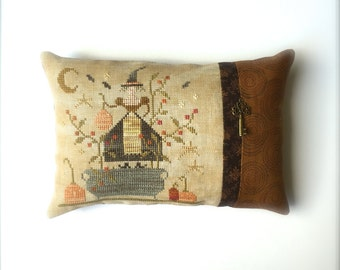 Completed primitive cross stitch Witches Night Out pincushion, Halloween gift, Primitve pillow