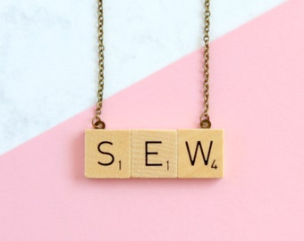 SEW Phrase Necklace, Wooden Scrabble Inspired Sew Necklace, Scrabble Necklace, Sew Word Necklace, Scrabble Christmas Gift