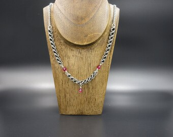 Chainmaille Stainless Steel Swarovski Necklace
