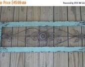 SUMMER SALE Turquoise Blue / Wrought Iron Decor / Shabby Chic / Wall Decor / Cottage Decor