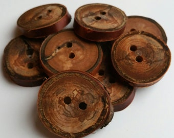 3cm spaltedcherry buttons oiled, Natural wooden buttons, wood buttons, wooden buttons, cherry buttons, wood, wooden, buttons, branch buttons