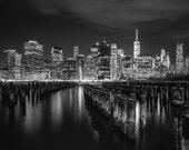 New York City Skyline, Night Photography, Black and White NYC Art, Large Wall Art, Manhattan Cityscape, One World Trade Center