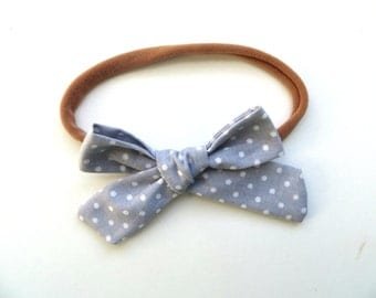 Hand Tied Hair Bows/One Size Fits All/Gray and White Polka Dots/Little Girl's Bows