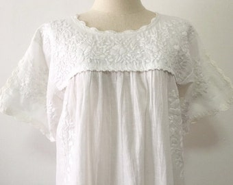 Mexican Embroidered Dress Cotton White Tunic, Bohemian Dress