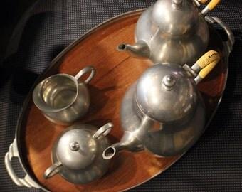 Vintage 20th Century Royal Holland Daalderop Pewter Coffee/ Tea Set w/ Creamer