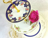 Blue, Gold and Florals  3 Tiered Cake Stand/ Dessert Stand/ Pink Roses/ Jewelry Stand /Three Tier /Vintage Plates