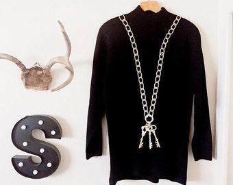 Vintage black + gold skeleton key long Sweater