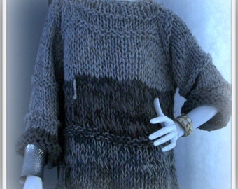 SWEATER WOMENS KNITTED  Grey Pullover Oversized Loose Knit Bulky Chunky