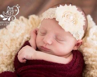 FREE SHIPPING! Ivory Headbands, Newborn Headband, Ivory Baby Headband, Baby Headbands