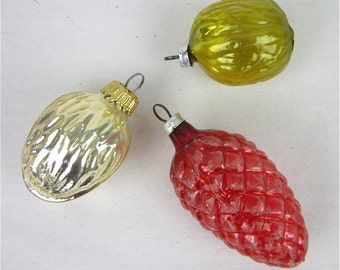 Lot Vintage Christmas Tree Glass Ornaments, Walnuts, Pinecones, West Germany