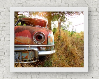 Abandoned Car in a Texas Field | Vintage Renault Photography Artwork Wall Decor