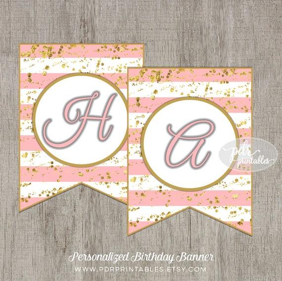 Items Similar To Custom Printable Birthday Banner, Pink