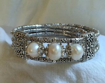 Three Pearl Wrap Bracelet