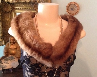Genuine mink fur stole collar wrap with clip mid century hollywood regency glam streampunk fashion accessory cocktail evening wear