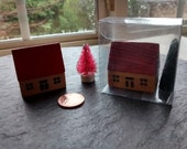 mini house & pink bristle tree wooden figurines VTG miniature cute wood tree Christmas birthday cake topper fairy garden terrarium gift