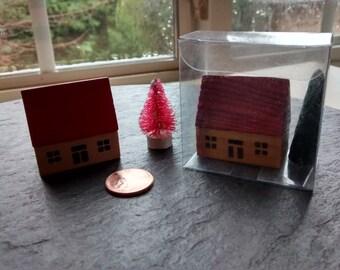 mini house & pink bristle tree wooden figurines VTG miniature cute wood tree Halloween birthday cake topper fairy garden terrarium gift