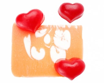 Love Heart Soap, Handmade Soap, All Natural Soap, Soap Bar, Homemade Soap, Cold Process Soap, Olive Oil Soap, Vegan Soap, Pink Soap