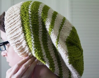 knit hat - green white striped, hand knit