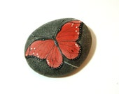 Red butterfly - hand painted rock paperweight