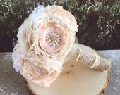 Lace fabric bouquet, brooch bouquet, vintage style bride bouquet