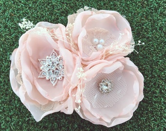 Fabric corsage, fabric flower corsage, blush fabric corsage