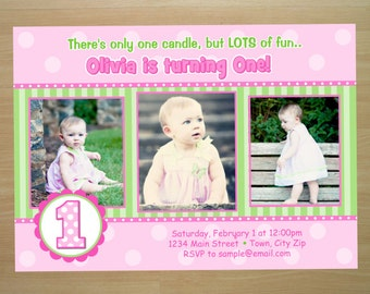 Pink Girl 1st Birthday Invitation - Digital File (Printing Services Available)