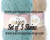 Knitting yarn // Crochet Yarn // Acrylic Yarn // Extra soft Nako Paris Set of 5 skeins // Nako Yarns // Blanket Yarn / Yarn Supplies