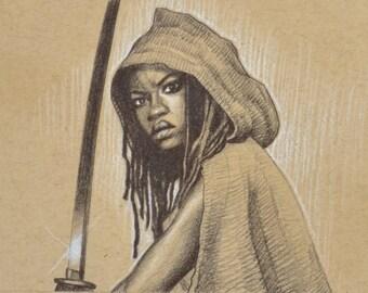 ORIGINAL DRAWING Michonne Wielding Sword Walking Dead Zombies Pencil Pastel Figure Sketch Fine Art Horror Fan Gift Portrait 5 x 7 Inches