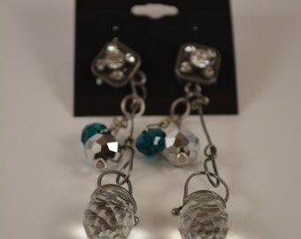 Prismatic Glass Crystal and Metal Earrings